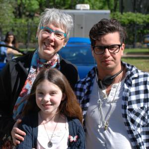 Sharon Y. Cobb, writer; L. Gustavo Cooper, writer/director and star Kennedy Brice on the set of June.