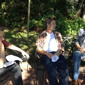 Eddie Jemison, Casper Van Dien and Victoria Pratt on the set of June.