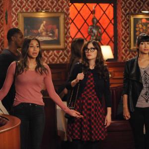 Still of Zooey Deschanel, Meaghan Rath and Hannah Simone in New Girl (2011)