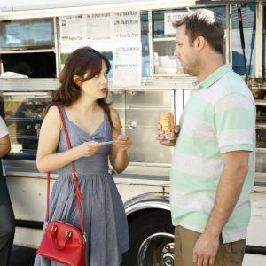 Still of Zooey Deschanel and Chris Witaske in New Girl (2011)