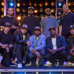 Ice Cube, Neil Brown Jr., Dr. Dre, Aldis Hodge, M.C. Ren, DJ Yella, Corey Hawkins, Jason Mitchell, O