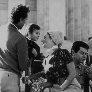 Elizabeth Taylor Eddie Fisher and Richard Burton on the set of Cleopatra