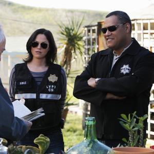 Still of Laurence Fishburne and Jorja Fox in CSI kriminalistai (2000)