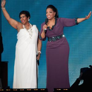 Oprah Winfrey and Aretha Franklin