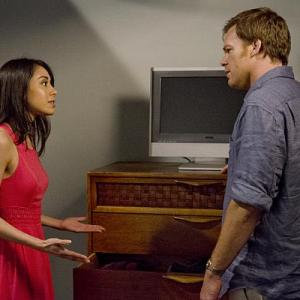 Michael C. Hall and Aimee Garcia on set of Dexter 2013