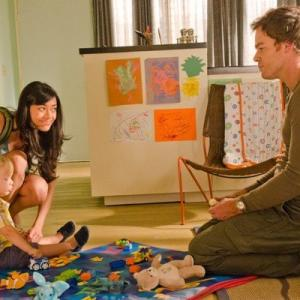 Michael C. Hall and Aimee Garcia on set of Showtime's Dexter 2012