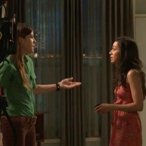 Jennifer Carpenter and Aimee Garcia on set of DEXTER August 2011