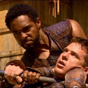 Still of Jason Winston George and Ben Browder in Stargate SG-1