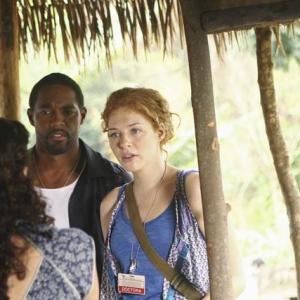 Still of Jason George and Rachelle Lefevre in Off the Map 2011