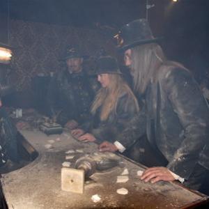 Production Still  Bill McKinney as Victor Burnett Anthony Hornus as Captain Ketner Rene OConnor as Little Jack and Dean Teaster as Digger the Undertaker in Ghost Town The Movie filmed at Ghost Town in the Sky in November 2007