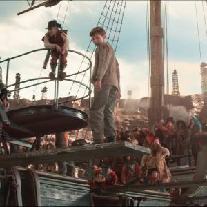 Still of Hugh Jackman, Jimmy Vee and Levi Miller in Pan (2015)