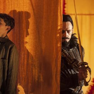 Still of Hugh Jackman and Levi Miller in Pan (2015)