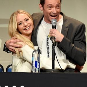 Hugh Jackman and Jennifer Lawrence at event of X-Men: Apocalypse (2016)
