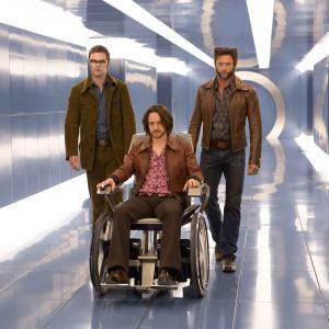 Still of Shawn Ashmore, Hugh Jackman and James McAvoy in Iksmenai: Praejusios ateities dienos (2014)