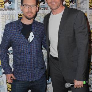Bryan Singer and Hugh Jackman at event of X-Men: Apocalypse (2016)
