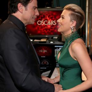 John Travolta and Scarlett Johansson at event of The Oscars 2015