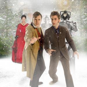 Dervla Kirwan David Morrissey and David Tennant in Doctor Who 2005