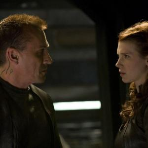 Still of Robert Knepper and Julie McNiven in SGU Stargate Universe (2009)