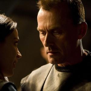 Still of Robert Knepper and Kathleen Munroe in SGU Stargate Universe (2009)