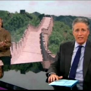 Geoff as Zhi Peng doing a 2 minute skit with Jon Stewart as his Chinese bandleader on The Daily Show 2013