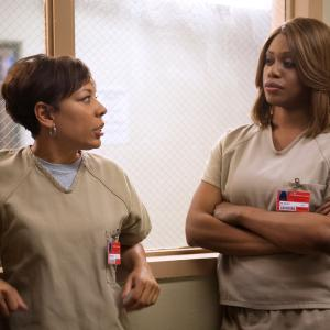 Still of Selenis Leyva and Laverne Cox in Orange Is the New Black (2013)