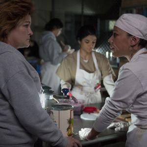 Still of Kate Mulgrew, Selenis Leyva and Diane Guerrero in Orange Is the New Black (2013)