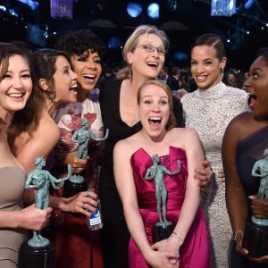 Meryl Streep, Selenis Leyva, Elizabeth Rodriguez, Emma Myles, Kimiko Glenn, Dascha Polanco and Danielle Brooks at event of The 21st Annual Screen Actors Guild Awards (2015)