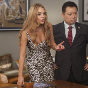 Still of Rex Lee and Lindsay Lohan in Glee (2009)
