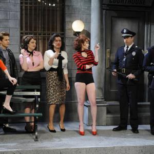 Still of Fred Armisen, Bill Hader, Lindsay Lohan, Jason Sudeikis, Kristen Wiig, Andy Samberg and Abby Elliott in Saturday Night Live (1975)