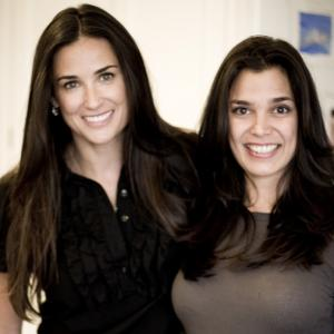 Kamala Lopez and Demi Moore during the Speechless Without Writers Campaign filming Paul Haggis Just Whats On The Page