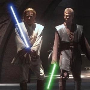 Tom Delmar Stunt Coordinator Ewan McGregor ObiWan Kenobi  Hayden Christensen Anakin Skywalker in George Lucass Star Wars IIAttack of the Clonesjpg