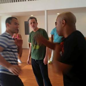 Here working out some fight choreography with Director Robert Samuels on the set of