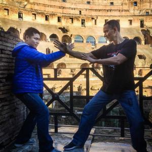 Here at the famed Colosseum in Rome, Italy squaring off with Sifu Leo Au Yeung of Wing Chun fame