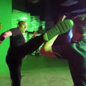 In Action on the movie set -