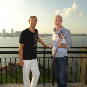 Here with my Carnegie Hall Concert partner South African Grammy artist Wouter Kellerman. Here at home on the rooftop of Tribeca Park, NYC