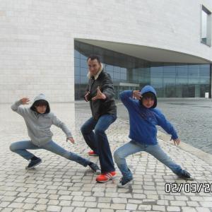 Here with Sensei Pedro Porem's family in Lisbon, Portugal. Prepare yourselves for mortal combat!