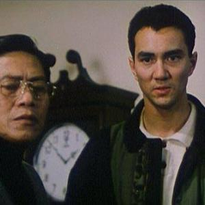 Here with legendary Hong Kong actor Lo Lieh (Five Fingers of Death) on the movie set of