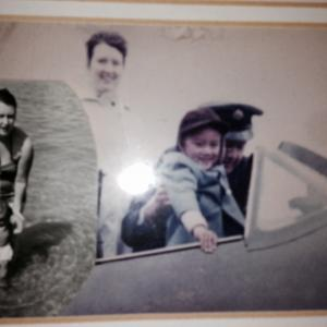 My first time in a plane (Spitfire) at the Royal Air Force Base in Abingdon, England. Here with my Mom. Also Mom and I in my birthplace Aden, Yemen.