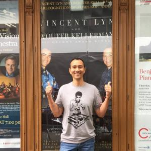 Standing in front of the poster of my upcoming performance Friday October 9th, 2015 - Carnegie Hall Marquis