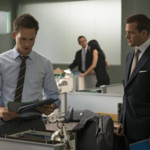 Still of Gabriel Macht and Patrick J Adams in Suits 2011