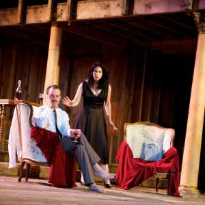 Lucia Marano as Anna Magnani and Tad Coughenour as Tennessee Williams in ROMAN NIGHTS written by Franco DAlessandro and directed by Eva Minemar  The Will Geer Theatricum Botanicum