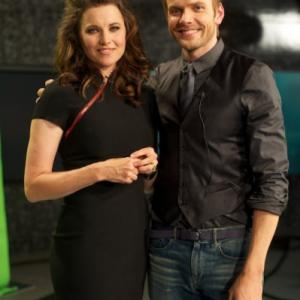 Still of Lucy Lawless and Joel McHale in The Soup 2004