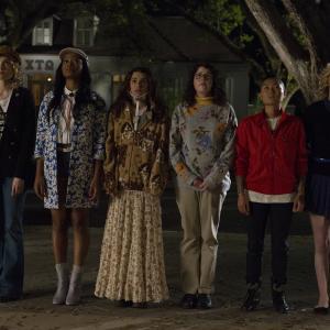 Still of Lea Michele, Skyler Samuels, Keke Palmer, Whitney Meyer, Breezy Eslin and Jeanna Han in Scream Queens (2015)