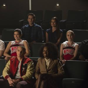 Still of Lea Michele, Matthew Morrison, Marshall Williams, Becca Tobin, Billy Lewis Jr., Samantha Marie Ware and Laura Dreyfuss in Glee (2009)