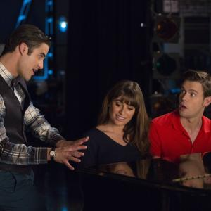 Still of Lea Michele, Darren Criss and Chord Overstreet in Glee (2009)