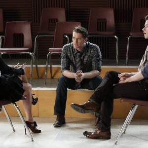 Still of Lea Michele, Matthew Morrison and Chris Colfer in Glee (2009)