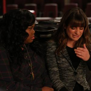 Still of Lea Michele and Amber Riley in Glee (2009)