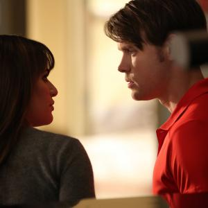 Still of Lea Michele and Chord Overstreet in Glee (2009)