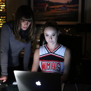 Still of Lea Michele and Becca Tobin in Glee (2009)