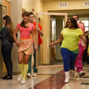 Still of Lea Michele, Amber Riley and Chord Overstreet in Glee (2009)
